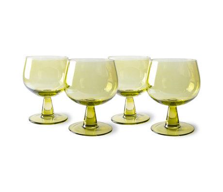 HK-living Wijnglazen The Emeralds Laag Olijfgroen Glas Ø8,5x11,5cm Set van 4