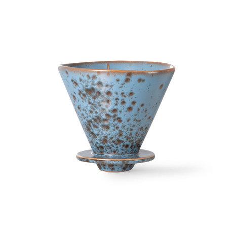 HK-living Koffiefilter 70's Berry Blauw Keramiek Ø12x11cm
