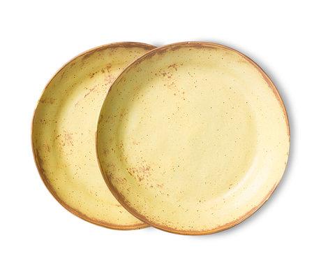 HK-living Pasta Bord Bold & Basic Ceramics Geel Bruin Keramiek Ø23x4,3cm Set van 2