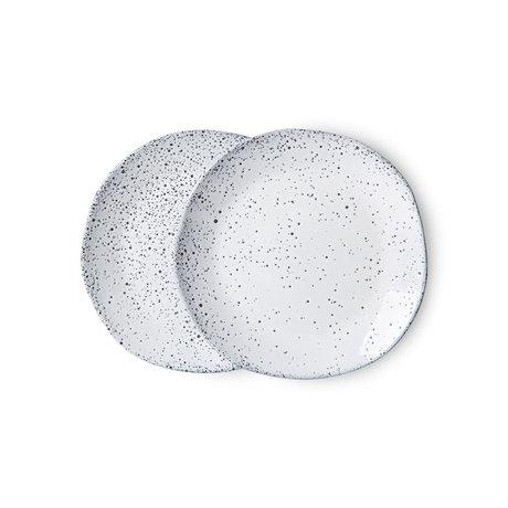 HK-living Desertbord Gradient Ceramics Wit Keramiek Ø16x1,5cm Set van 2