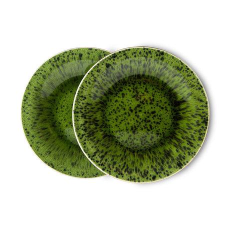 HK-living Bord The Emeralds Groen Keramiek Ø21,6x2,3cm Set van 2