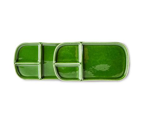 HK-living Bord The Emeralds Groen Keramiek 14x27x2cm Set van 2