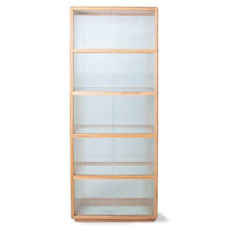 HK-living Vitrinekast Ribbed Naturel Essenhout Glas 75x36x185cm