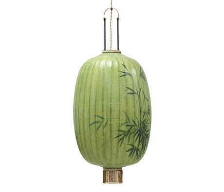 HK-living Lantaarn Traditional Bamboo Groen Bamboe Textiel Ø45x67/101cm