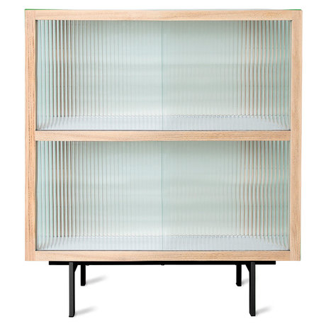 HK-living Dressoir Ribbed Naturel Essenhout Glas Metaal Essenhout 80x40x89cm