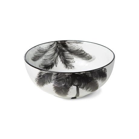 HK-living Schaal Palms Bold & Basic Ceramics Wit Zwart Keramiek Ø14x6cm