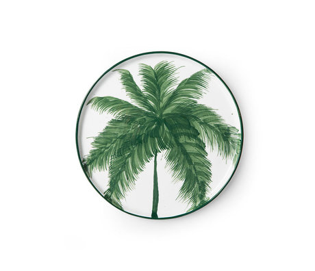 HK-living Bord Palms Bold & Basic Ceramics Wit Groen Keramiek Ø22x1,5cm
