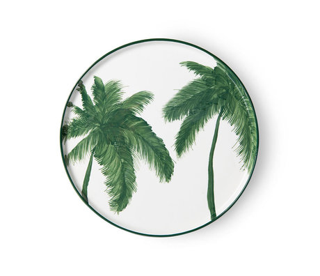 HK-living Bord Palms Bold & Basic Ceramics Wit Groen Keramiek Ø27x1,6cm