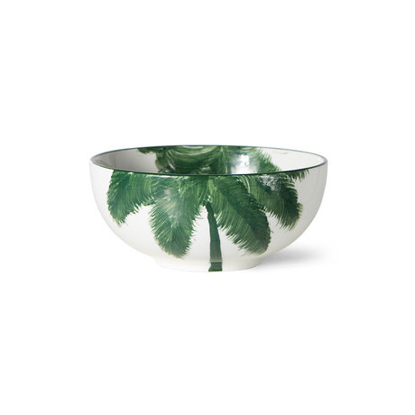 HK-living Schaal Palms Bold & Basic Ceramics Wit Groen Keramiek Ø15x6cm
