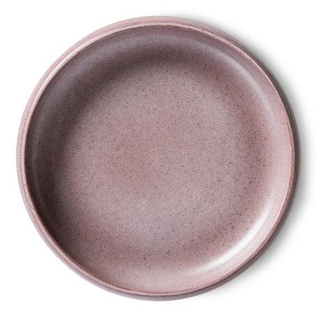 HK-living Bord Bold & Basic Ceramics Paars Porselein Ø22x4,8cm Set van 2
