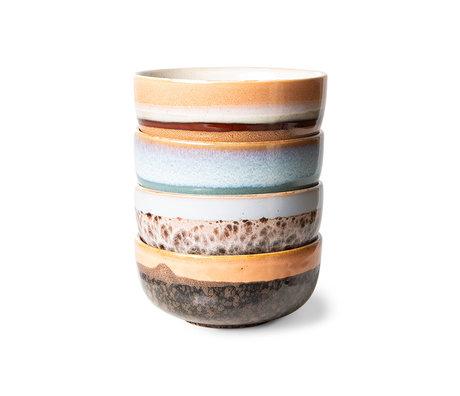 HK-living Schaal Tapas 70s Multicolor Keramiek Ø11x5cm Set van 4