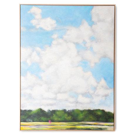 HK-living Kunstlijst Dutch Sky Multicolor Canvas Hout 123x4x163cm