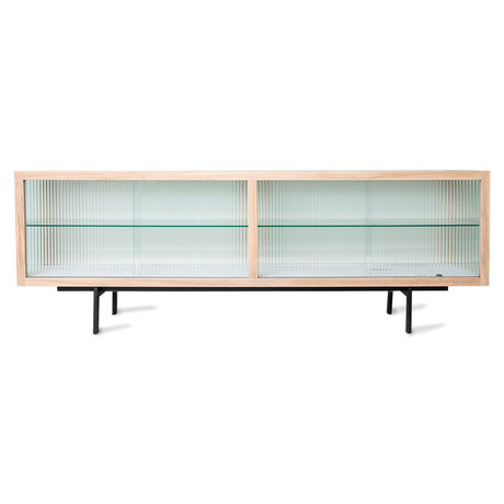 HK-living Dressoir Ribbed Naturel Essenhout Glas Metaal Essenhout  159,5x40x55cm