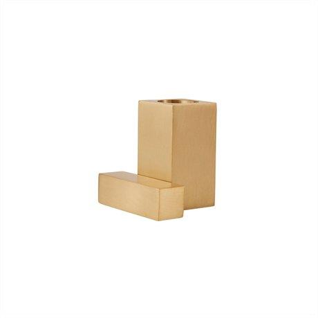 OYOY Kaarsenhouder Square Goud Geborsteld Messing 5x4x5cm