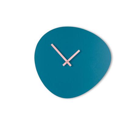 KLOQ Klok Pebble Blauw Lichtroze Hout 40x37cm