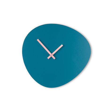 KLOQ Klok Pebble Blauw Lichtroze Hout 40x2,5x37cm