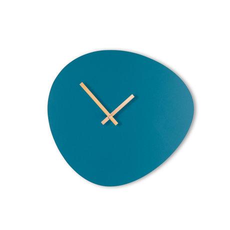 KLOQ Klok Pebble Blauw Goud Hout 40x37cm