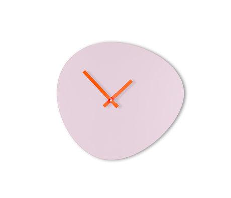 KLOQ Klok Pebble Lila Neon Oranje Hout 40x2,5x37cm