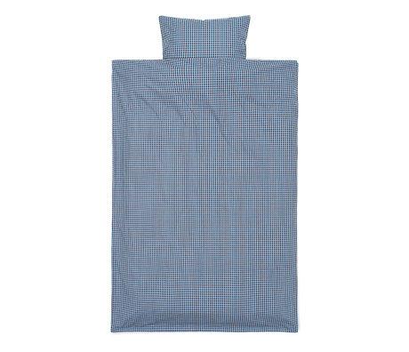 Ferm Living Baby Bedding Check Blue Chocolate Brown Cotton 70x100cm