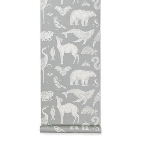 Ferm Living Wallpaper Katie Scott Animals Light Gray 53x1000cm