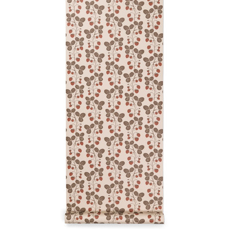 Ferm Living Behang Strawberry Field Roze 53x1000cm