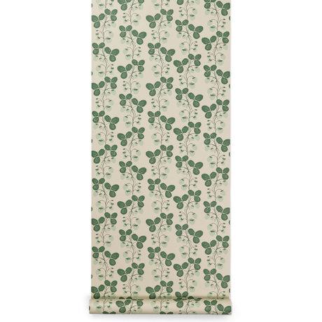 Ferm Living Behang Strawberry Field Groen 53x1000cm