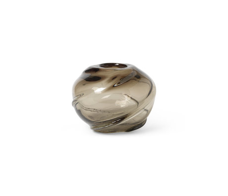Ferm Living Vaas Water Swirl Round Smoked Grey Glas ø21x16cm