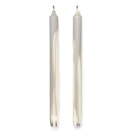 Ferm Living Candles Dryp Set Of 2 Gray ø2,2x30cm