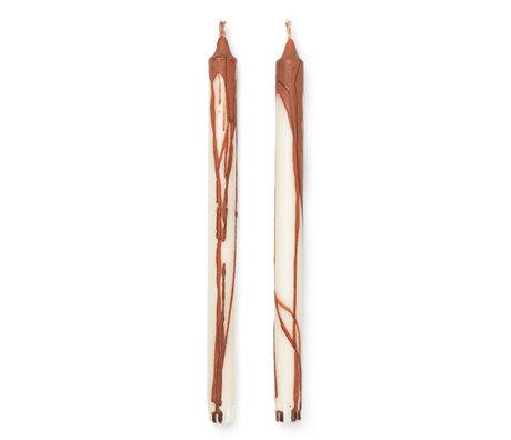 Ferm Living Candles Dryp Set Of 2 Rust ø2,2x30cm
