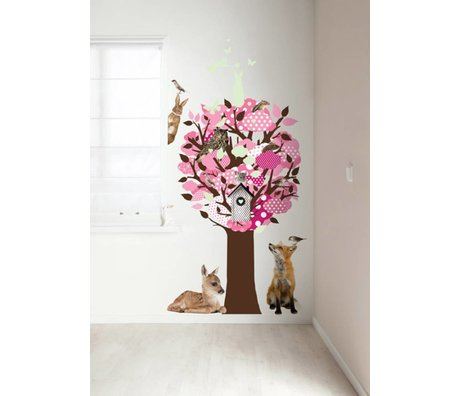 KEK Amsterdam Sticker mural rose 95x150cm Glow-in-the-dark paroi arbre feuille