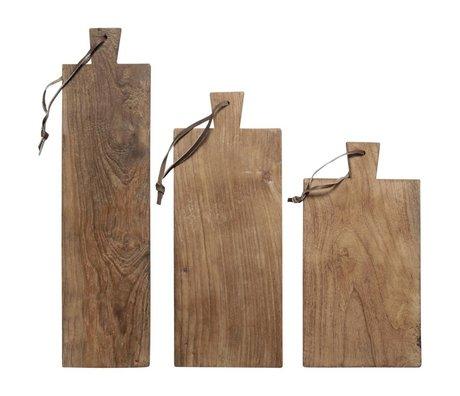 HK-living Pain conseils recyclés teck, un ensemble de 3 planches