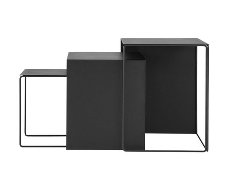 Ferm Living Cluster coffee table set of three black metal