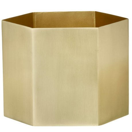 Ferm Living Pot Hexagon brass goud Ø18x16cm- Extra large