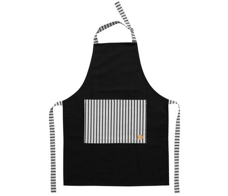 OYOY Cooking Apron CIBO apron black and white cotton canvas 92x86cm