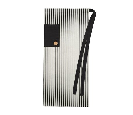 OYOY Cooking Apron CIBO CHEF apron black and white cotton canvas 92x84cm