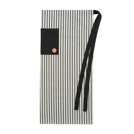 OYOY Kochschürze CIBO Chef-Schutzblech schwarz und weiß Baumwolle Leinwand 92x84cm