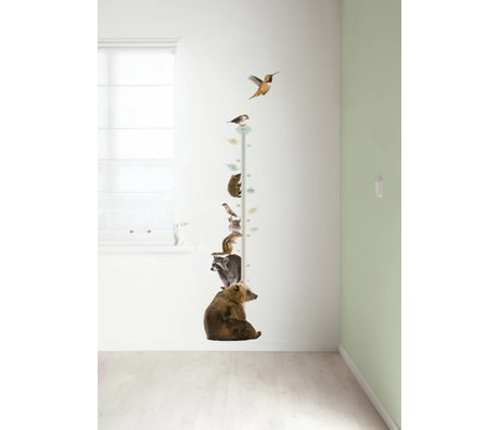 KEK Amsterdam Muursticker groeimeter multicolour 40x150cm Forest Friends Growth Chart 2 muurfolie