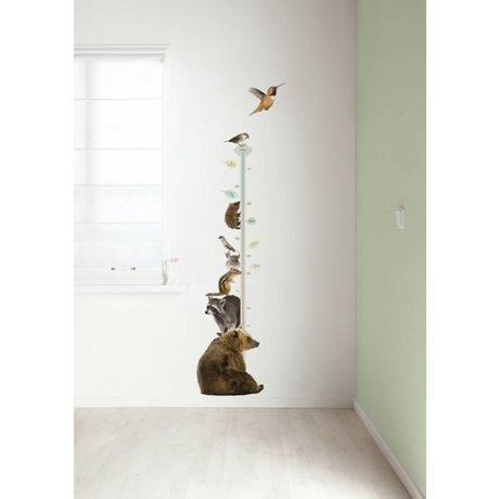 KEK Amsterdam Wall Decal growth chart multi color 40x150cm Forest Friends Growth Chart 2 wall film