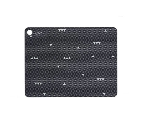 OYOY Placemat GREY LINE gray silicone set of two 45x34x0,15cm