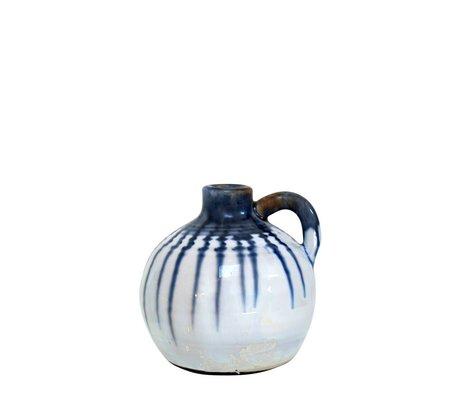 HK-living Keramik Glas mit blauen Tropfen großen 13x13x13cm