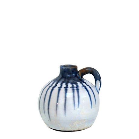 HK-living Ceramic jar with blue drops large 13x13x13cm