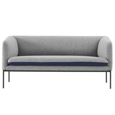 Ferm Living Bank Turn 2 seater gray, blue wool 160x71x73cm