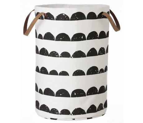 Ferm Living Laundry basket black / white cotton Laundry Basket Half Moon 40x60cm