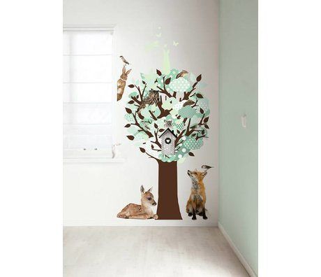 KEK Amsterdam Sticker mural vert 95x150cm Glow-in-the-dark paroi arbre feuille