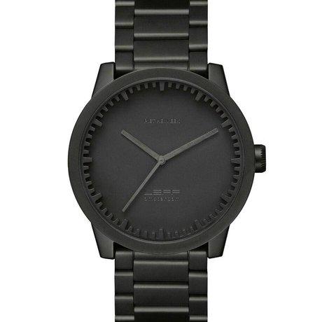 LEFF amsterdam Uhr Uhr Schlauch S42 schwarz gebürstetem Edelstahl mit massivem Edelstahl-Band wasserdicht Ø42x11,4mm