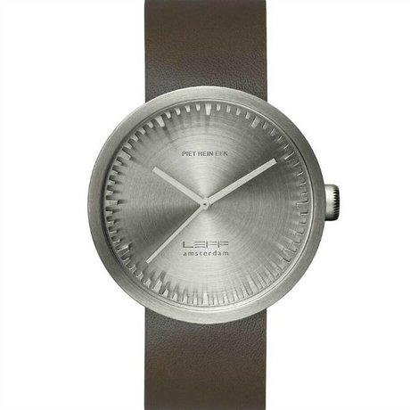 LEFF amsterdam Watch Tube D42 brushed stainless steel watch with brown leather strap waterproof Ø42x10,6mm