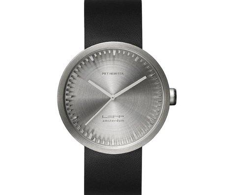LEFF amsterdam Uhr Uhr Rohr D42 gebürstetem Edelstahl mit schwarzem Lederarmband wasserdicht Ø42x10,6mm