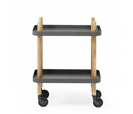 Normann Copenhagen Side Table Block dark gray steel timber 35x64x50cm