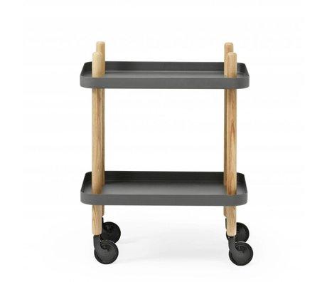 Normann Copenhagen Table d'appoint Bloquer acier gris foncé bois 35x64x50cm