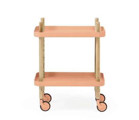 Normann Copenhagen Side Table Block coral pink steel timber 35x64x50cm